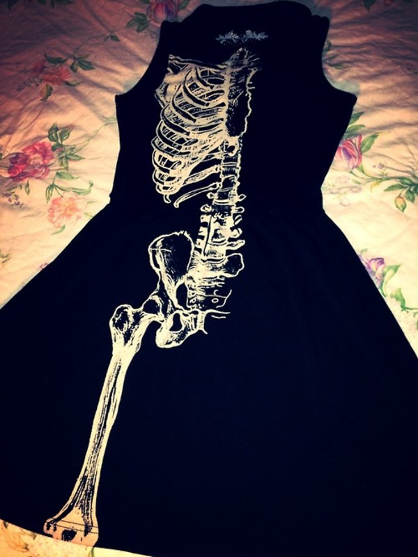 dress skeleton black dress black cute cool science