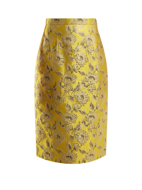skirt pencil skirt floral yellow