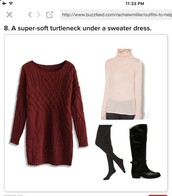 sweater,red sweater dress,turtleneck,tights,shoes