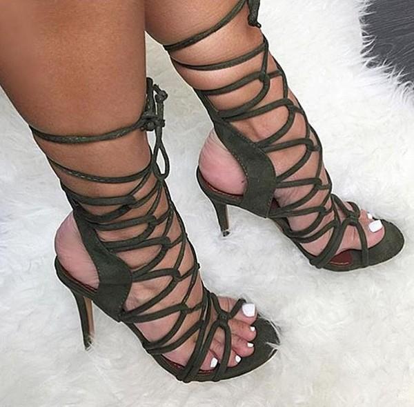 Shoes Sandals Heels Olive Green Lace Up Heels Wheretoget
