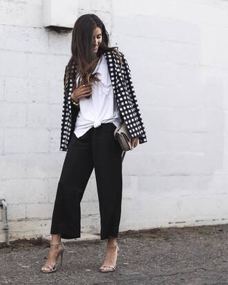 pants tumblr black pants cropped pants black culottes culottes t-shirt white t-shirt sandals sandal heels high heel sandals nude sandals blazer printed blazer office outfits work outfits spring outfits