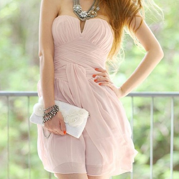 dress clothes summer dress coral dress coral orange dress orange bustier dress summer jewelry jewels necklace flowers bracelets bag little bag white white bag need this whole outfit! peach dress cute dress cute adorable dress lovely