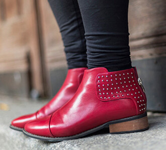 shoes blackfive red redheels flats boots winter boots winter outfits studs studded shoes studded flats clothes fashion beautiful girly outfit spikes spiked shoes