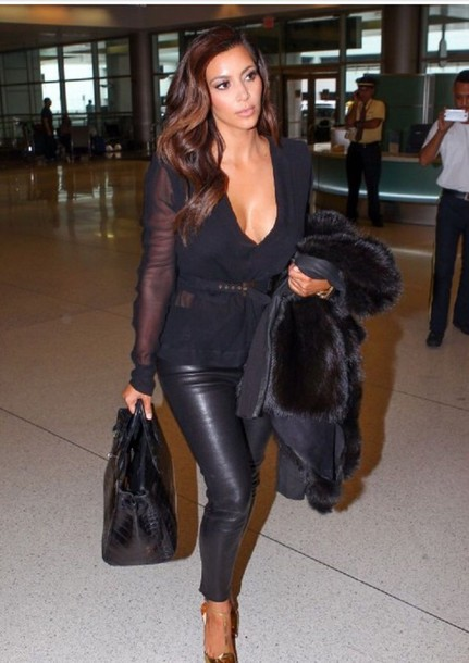 kim kardashian leather pants leggings