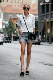 fashionjackson,blogger,shirt,shorts,shoes,bag,sunglasses,jewels,crossbody bag,denim shorts,white shirt,mules,summer outfits,chloe