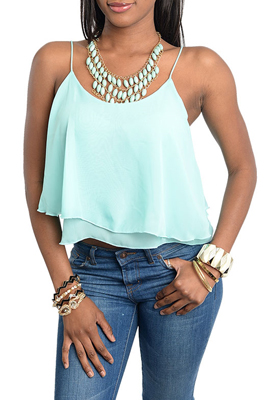 Aqua Sexy Ruffled Tiered Spaghetti Strap Crop Top