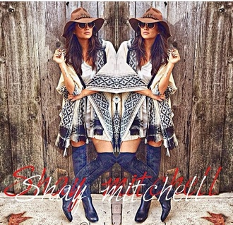 shay mitchell native american kimono knee high boots jacket