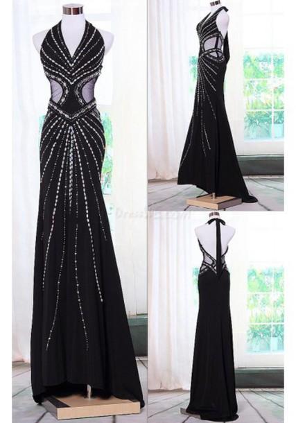 b0c148f7ffa dress black dress halter neck halter top sequin dress black prom dress long  dress long black