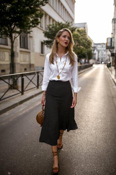 skirt polka dots midi skirt sandals bag white shirt necklace earrings