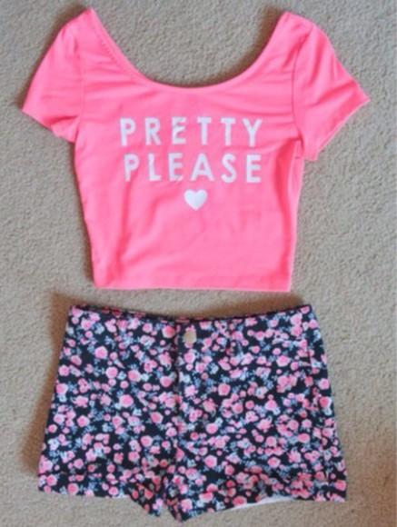 floral shorts pink
