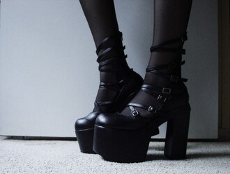 shoes black boots goth gothic black heels black black shoes gothic lolita platform shoes