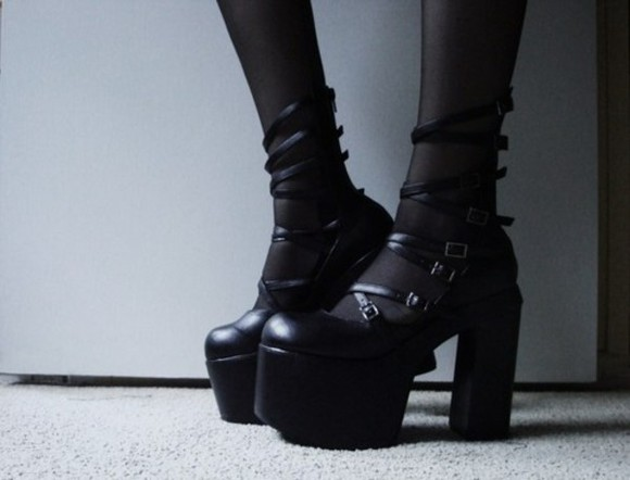 shoes black boots black platform shoes goth gothic black heels black shoes gothic lolita