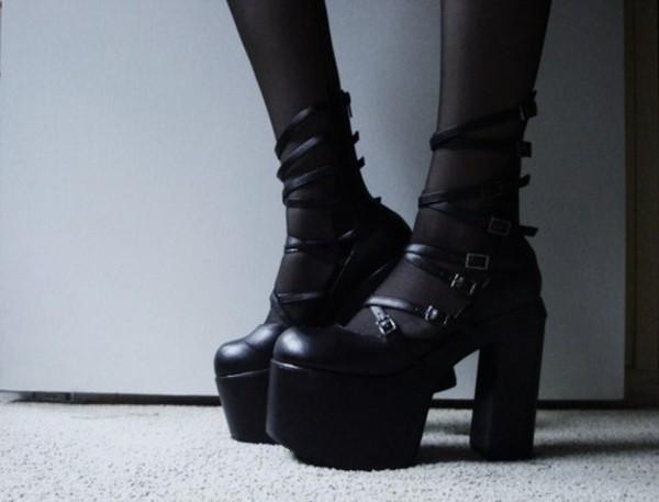 shoes black boots goth goth black heels black black shoes gothic lolita platform shoes boots punk goth shoes heels