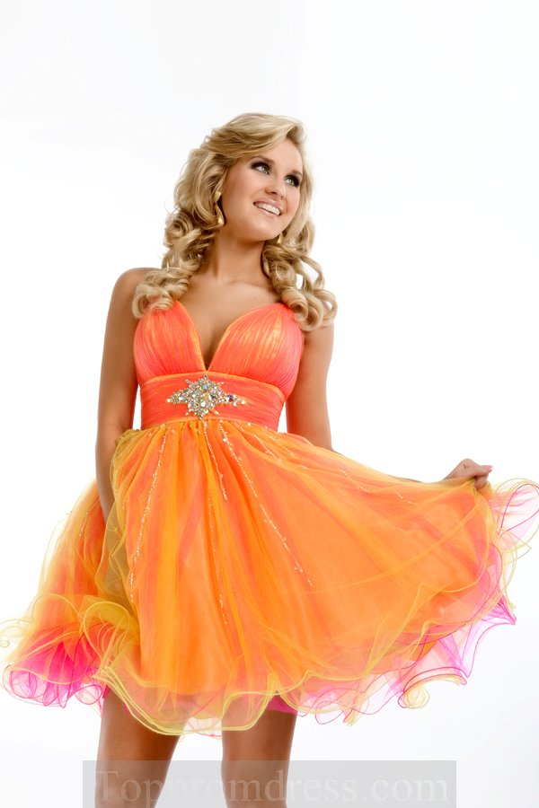 Neon Orange and Fuchsia Turquoise A-line Mini-length V-neck Low Back Sexy Dress With Sequins Zipper Sexydresses0148, Cheap Sexy Prom Dresses Hot Sale Online