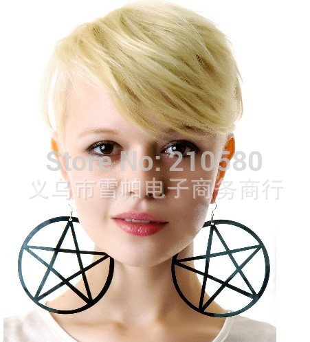 2104 Fashion Jewelry Drop Earrings Black Hollow Out Big Pentagram Trendy Acrylic Hiphop Large Earring For Women-in Drop Earrings from Jewelry on Aliexpress.com | Alibaba Group