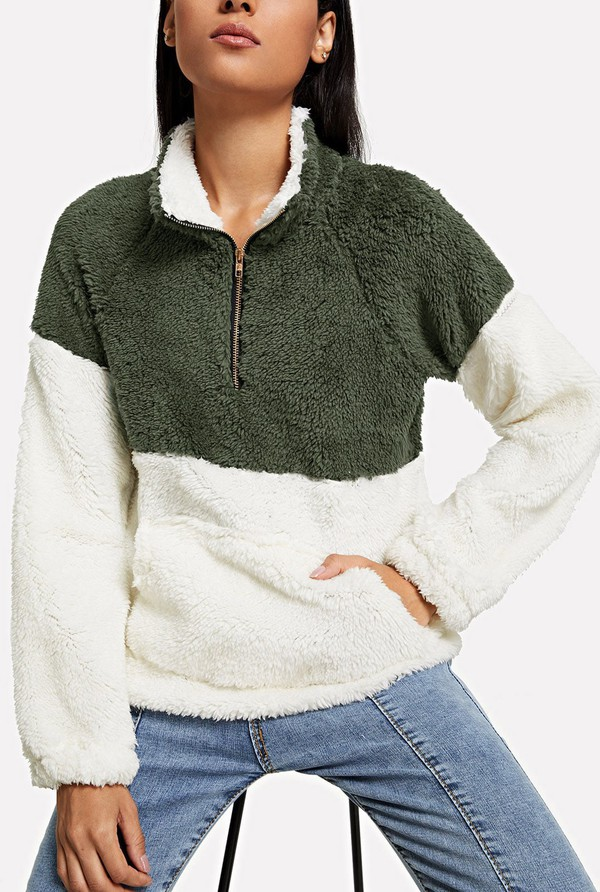 sweater fleece girly girl girly wishlist fur comfy white green zip sweatshirt