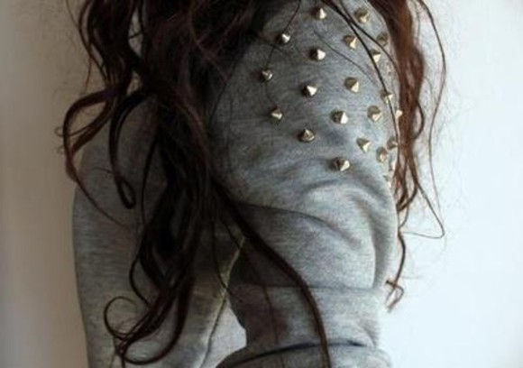 studs grey sweatshirt sweater studded sweater oversized sweater hipster