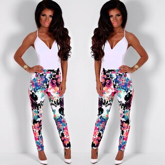 pants pink boutique floral multicolor print