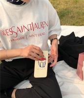shirt,white,white top,white t-shirt,white shirt,t-shirt,yves saint-laurent t-shirt
