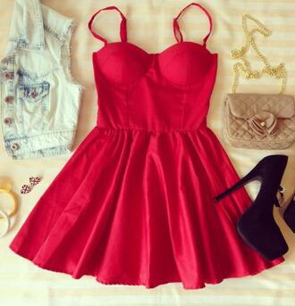 dress red red dress bustier short casual