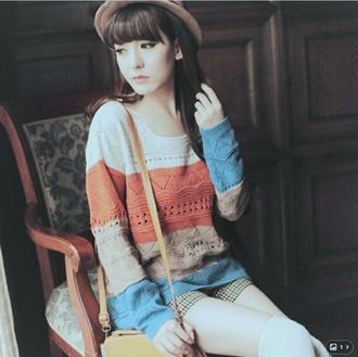 blouse white orange blue shorts moka korean fashion