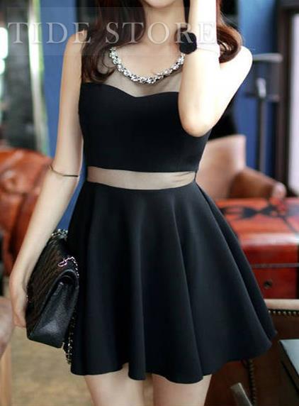 Fashion Charming Mesh Split Joint Sleeveless Dress: tidestore.com