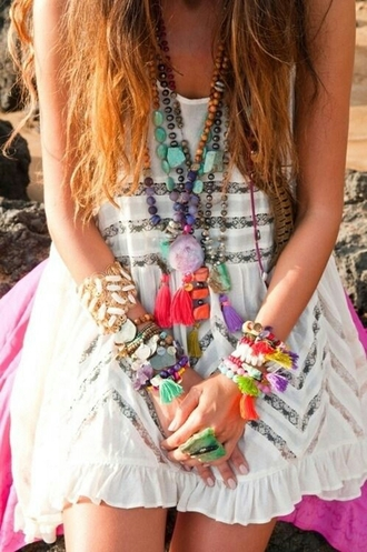 dress white dress lace flowy dress sheer lace boho hippie cute dress colorful jewels tassel crystal quartz crystal ring rock necklace jewels hipter bohemian dress