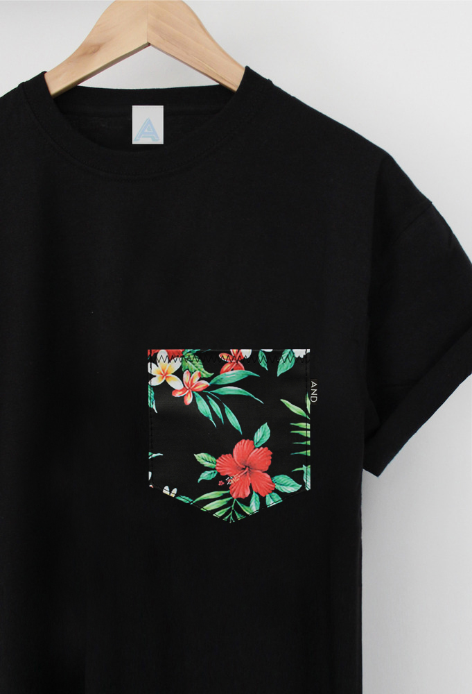Andclothing and tropical floral pocket tee for Graphic design t shirts uk