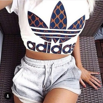 shirt white adidas cute style shorts