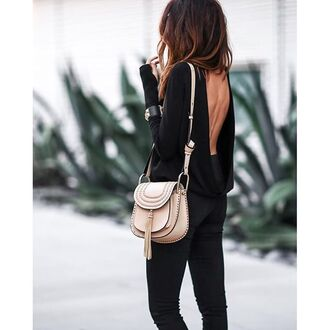 top tumblr black top open back backless backless top long sleeves jeans black jeans bag nude bag tassel chloe chloe bag