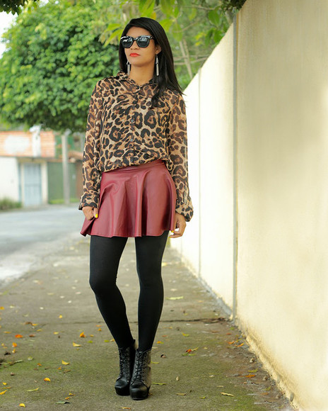 skirt model moda burgundy burgundy skirt animal print animal animals camisa inverno suglasses blogger blog blogs estilopropriobysir lita boots