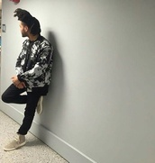 jacket,white,black,palm tree print,the weeknd,black jacket,mens bomber jacket