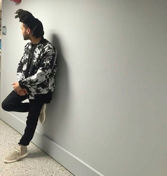 jacket white black palm tree print the weeknd black jacket mens bomber jacket black and white menswear urban menswear