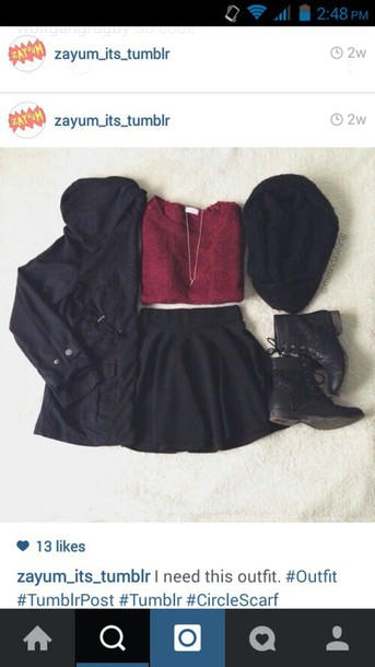 sweater dark red skirt burgundy goth hipster goth hipster skarf shoes cardigan jacket idea scarf