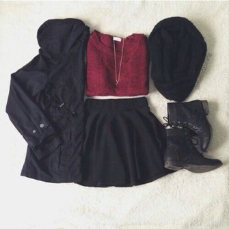 scarf jacket shoes sweater hipster skirt idea dark red cardigan bordeaux goth goth hipster skarf scarf red