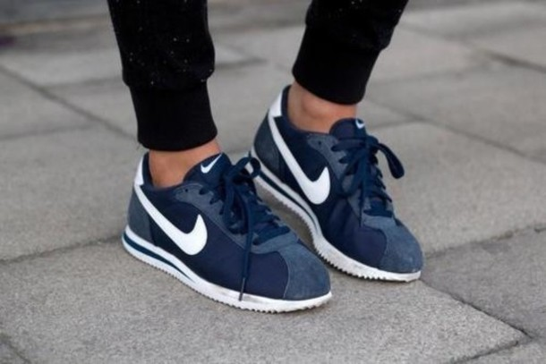 new arrival 9703f 78468 shoes nike navy blue sneakers white nike cortez navy white nike sneakers  trainers suede dark blue