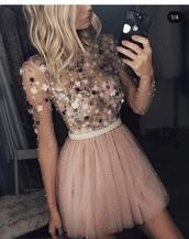 dress,blush dress pearls formal,pink embroidered dress,pink,floral,pink dress,floral dress,elegant,pretty,prom dress,peach,peachy,beautiful,tulle skirt,tulle dress,embroidered,flowers,homecoming dress