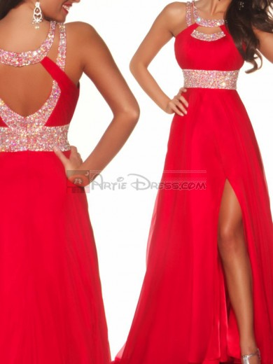 Red Empire Jewel Floor-length Prom Dresses with Slit for Cheap