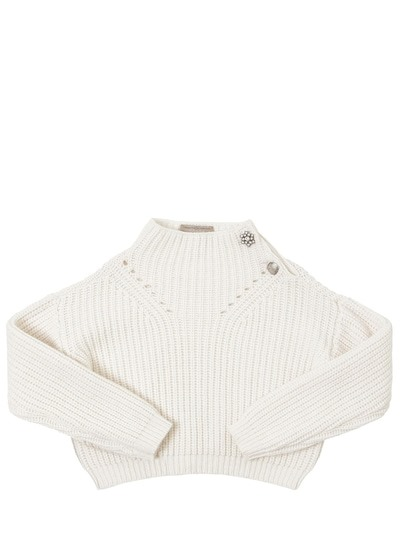 ERMANNO SCERVINO JUNIOR Wool Blend Knit Sweater White