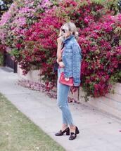 jacket,tumblr,bag,denim jacket,denim,jeans,blue jeans,embroidered,red bag,shoes,pilgrim shoes,All denim outfit