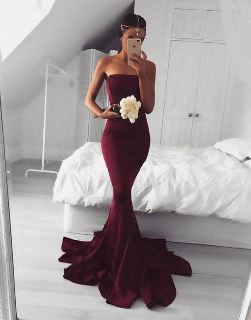 Elegant burgundy mermaid long prom dress, burgundy evening dress - 24prom
