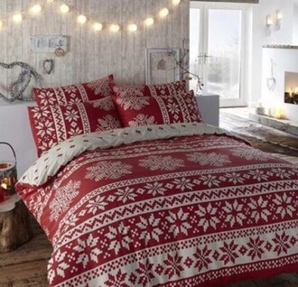 home accessory bedding red christmas snowflake
