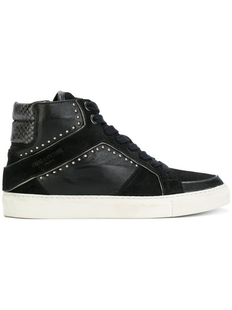 high women sneakers leather black shoes