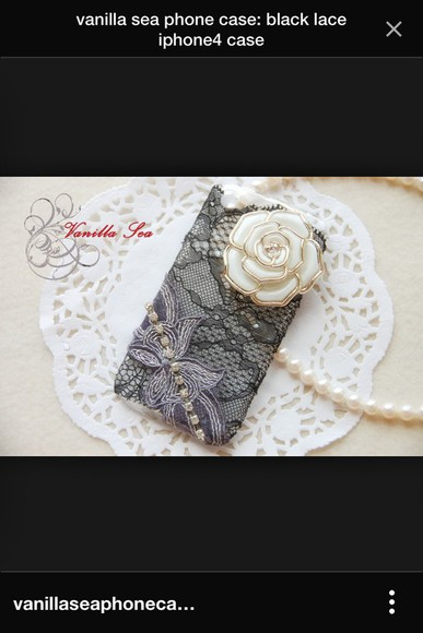 roses black phone case phone case iphone 4 case lace pearls posh