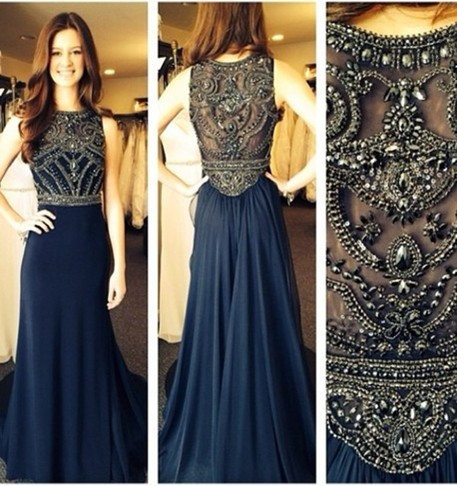 Aliexpress.com : buy robe de soiree 2014 new sexy sleeveless scoop neckline dark blue chiffon beaded evening dresses long prom gowns bo5235 from reliable evening dress in china suppliers on suzhou babyonline dress store