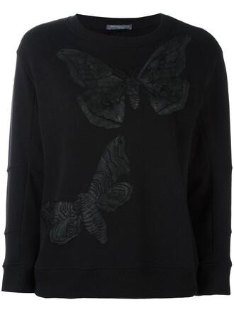 sweatshirt embroidered women cotton black sweater