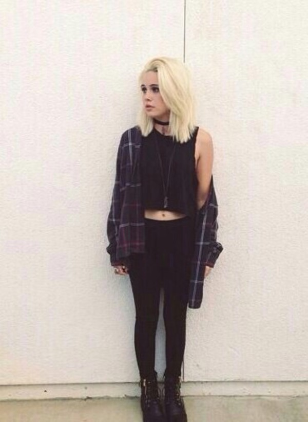 leggings Beatrice Miller top shoes tank top black grunge shirt checked shirt black top blouse cardigan flannel jacket scarf tumblr beamiller oufit punk plaid red jeans black jeans boots punk rock