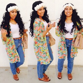 blouse cute summer warm instagram flowers acid wash pants wavy hair sandals tan flower crown hair accessory