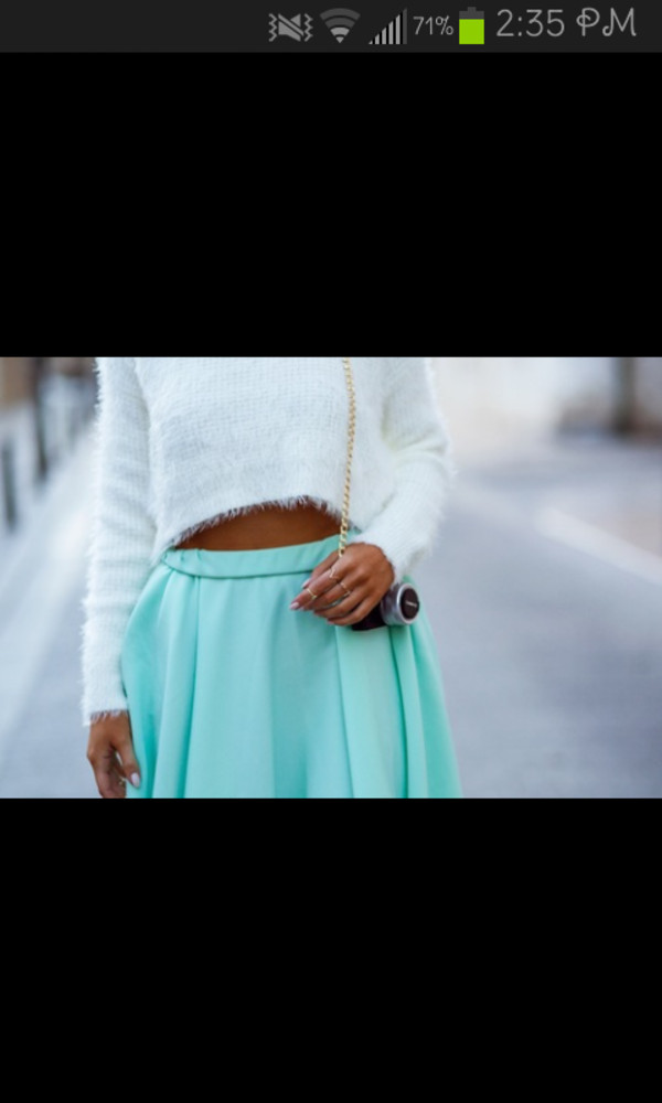 skirt blue skirt sweater white bag jewels