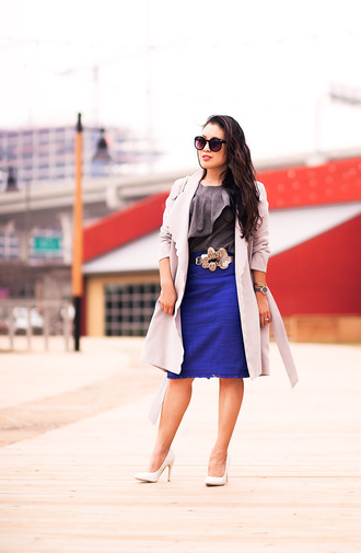 cute & little blogger skirt belt shoes jewels sunglasses bag